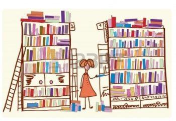 8357002-bibliotheek-cartoon-met-kind-en-vele-boeken